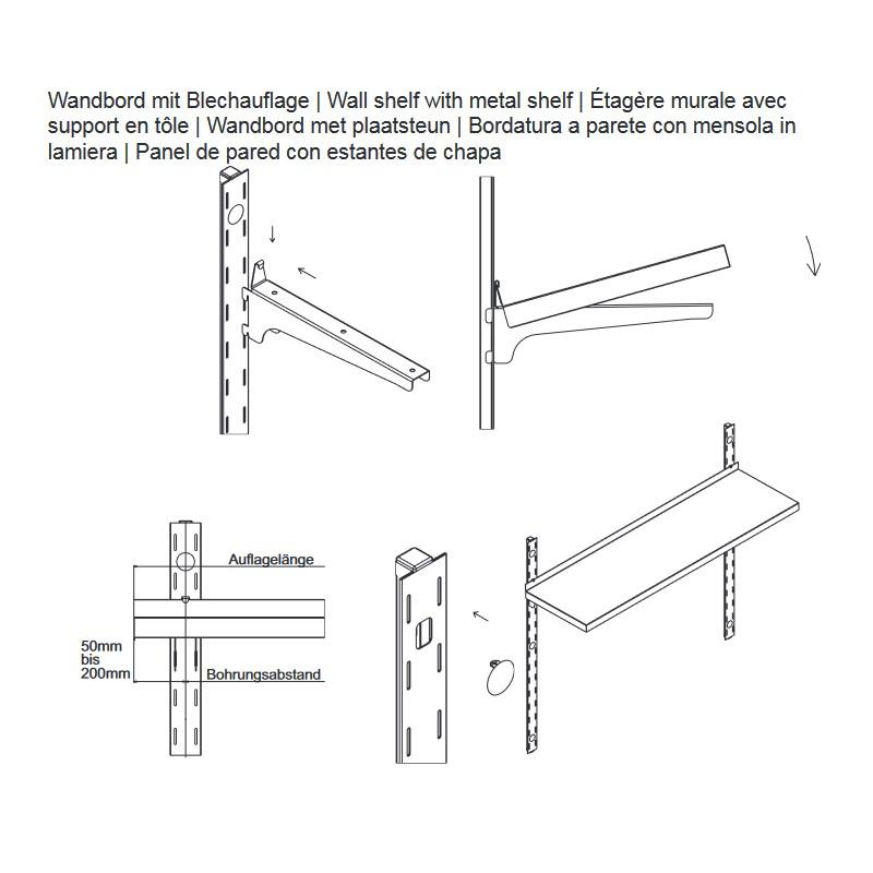 190x30cm hupfer edelstahl wandbord f r last 45kg m. Black Bedroom Furniture Sets. Home Design Ideas