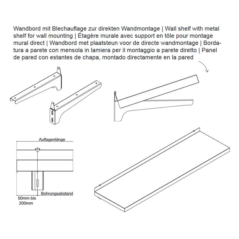 250x50cm hupfer edelstahl wandbord f r last 75kg m. Black Bedroom Furniture Sets. Home Design Ideas