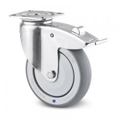 Lenkrolle Edelstahl ø 125 mm mit Bremse und Anschraubplatte
