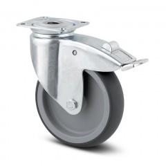 Lenkrolle Stahl-verzinkt ø 125 mm mit Bremse und Anschraubplatte