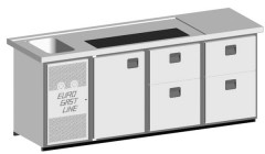 EGL-Theke E24TZZ - 1 Becken 1xTür - 2xZugabteil