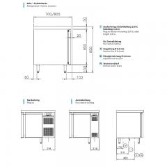 Chromonorm Edelstahl Bäckerei Kühltisch - 3 Türen - TPHK