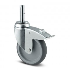 Lenkrolle Stahl-verzinkt ø 125 mm mit Bremse Zapfenbefestigung