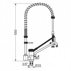 Langhebel Mischbatterie - 1 Loch + Auslaubrause - 10201