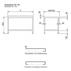 Chromonorm Edelstahl Arbeitstischkombination - TZCS3LRO 08-06