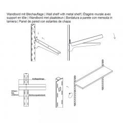 60x50cm hupfer edelstahl wandbord f r last 75kg m labor. Black Bedroom Furniture Sets. Home Design Ideas