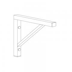 Edelstahl Wandkonsole für Tischplatte - Tiefe 500 mm