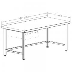 CAT-Edelstahl Arbeitstisch mit Unterbau offen - ATV07-04-30