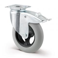 Lenkrolle luftidentisch ø 125 mm mit Bremse und Anschraubplatte