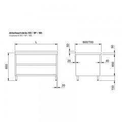 Chromonorm Edelstahl Arbeitsschrank - SSUS3L0-07 14-24