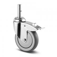 Lenkrolle Edelstahl ø 125 mm mit Bremse Zapfenbefestigung